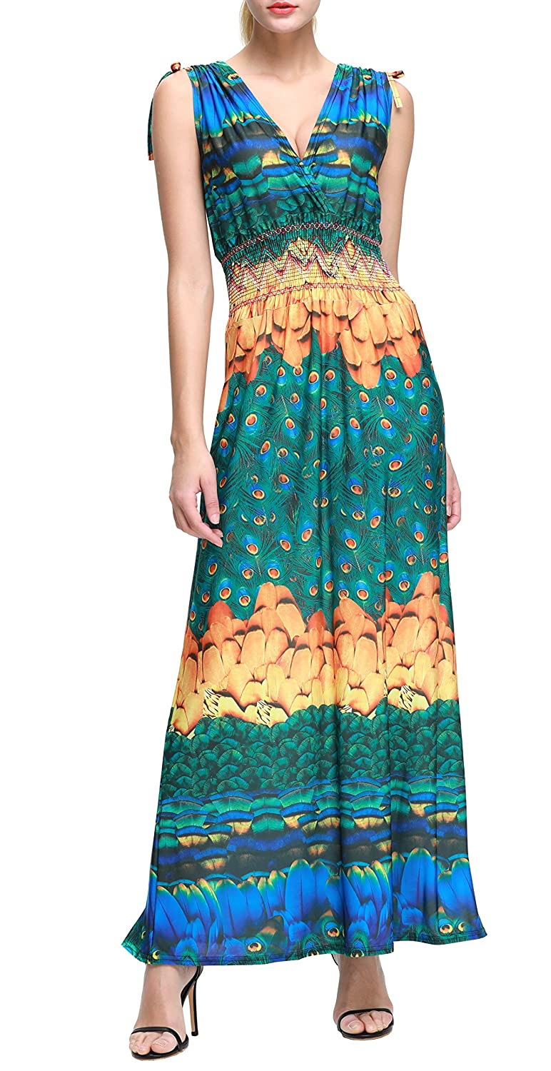 aedfa42334 Wantdo Women's Bohemian Maxi Dress Floral Print V Neck Casual Long Dresses  Plus Size at Amazon Women's Clothing store: