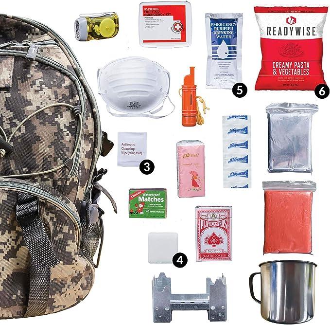 Survival Backpack v1 Black 5col Survival Supply Go Bag Get Home Pack Made in USA