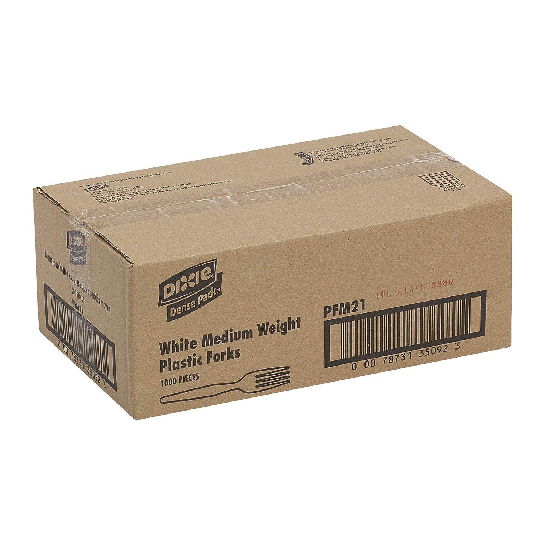 White PFM21, Case of 1,000 Georgia-Pacific Dixie 6 Medium-Weight Polypropylene Plastic Fork by GP PRO