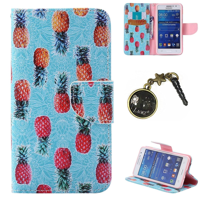 PU Cuir Coque Strass Case Etui Coque étui de portefeuille protection Coque Case Cas Cuir Swag Pour( Samsung Galaxy Core Prime G530, G530H G530FZ G531F +Bouchons de poussière (10LO) Laoke
