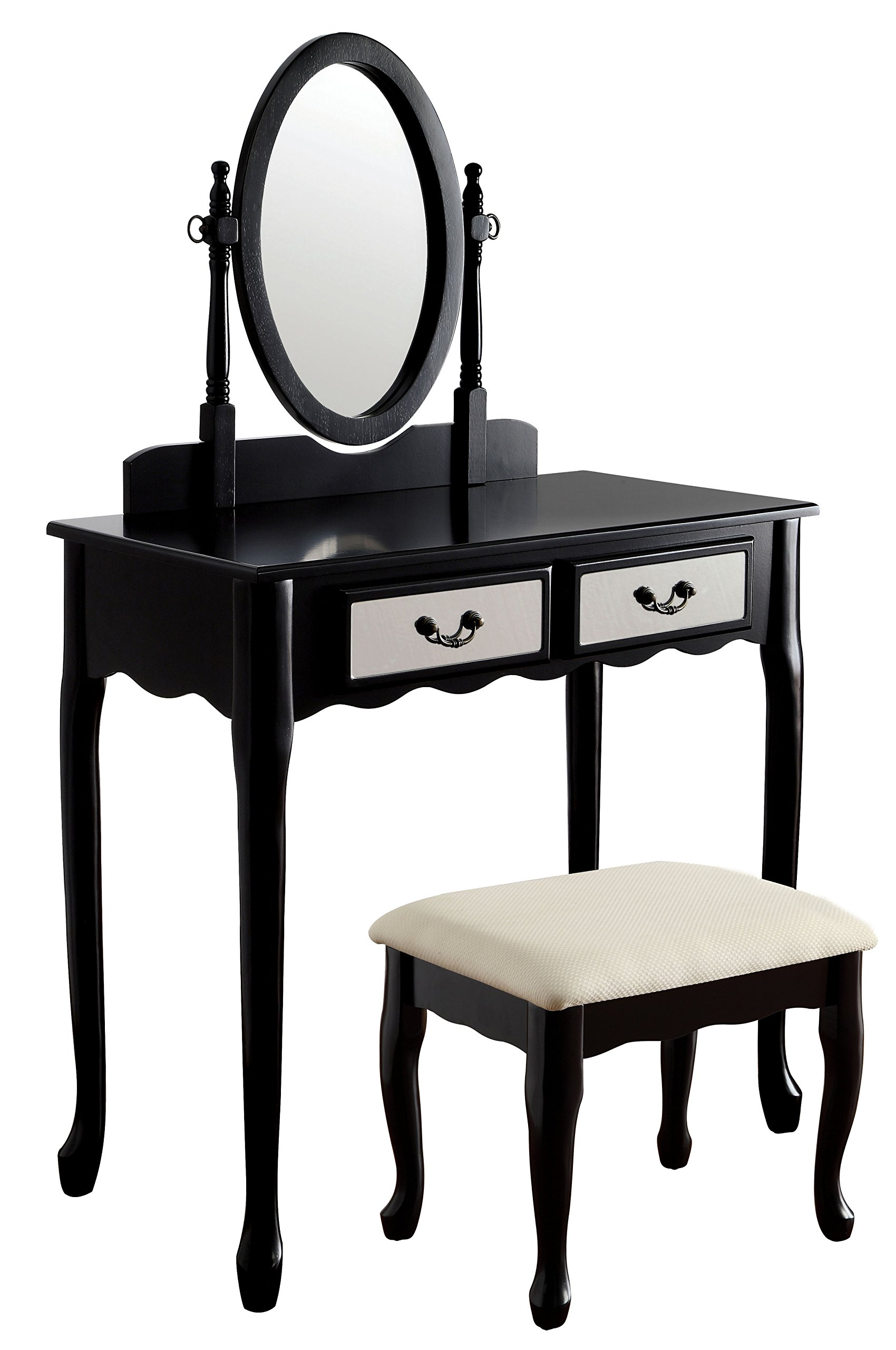 HOMES: Inside + Out Idf-DK6431BK Ensta Vanity Table with Stool, Black