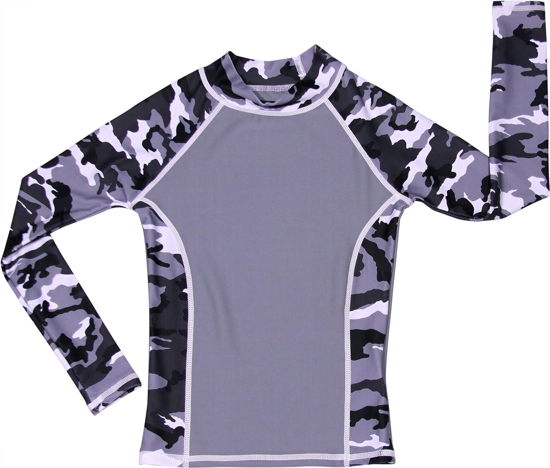 UPF 50+ Boy Long Sleeve Camo Rash Guard Swim Shirt grUVywear UV Protective