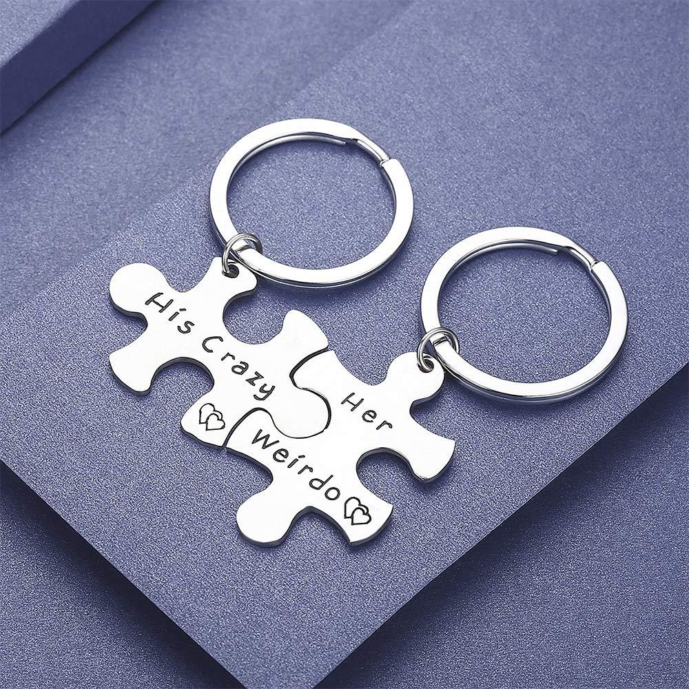 AXEN Key Chain Gift, His Crazy Her Weirdo, Couples Set, Style 1
