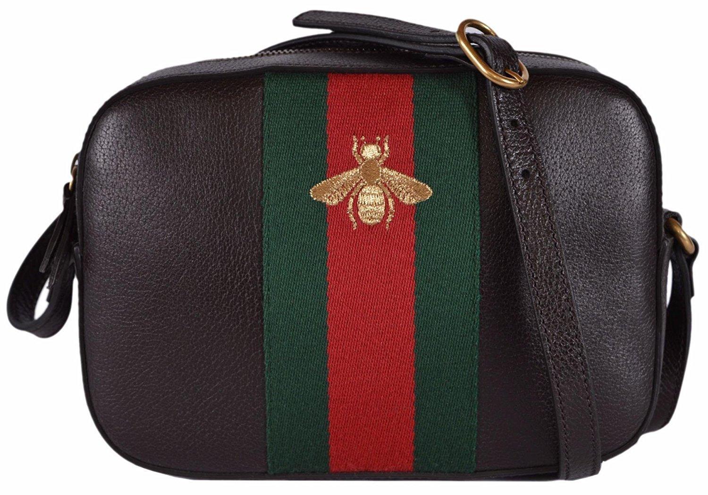 Gucci Women's Leather Red Green Web BEE Crossbody Handbag (Brown)