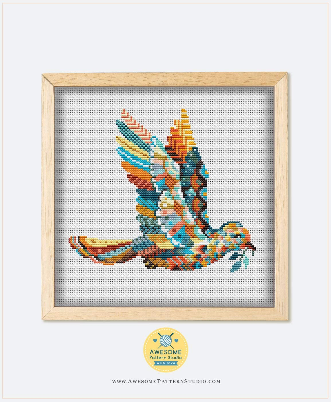 Mandala Dove K533 Counted Cross Stitch Pattern 4 Printed Schemes Inside Hoops Needles No Fabric Threads Embroidery Pattern