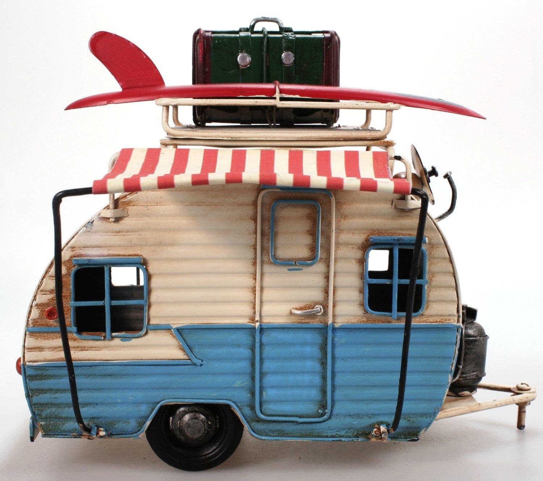 Amazon.de: Wohnwagen aus Metall hellblau mit Rahmen und Spardose ...