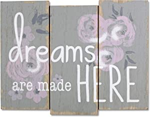 Wendy Bellissimo Hanging Wood Wall Art + Wall Decor - Dreams are Made Here in Floral & Grey