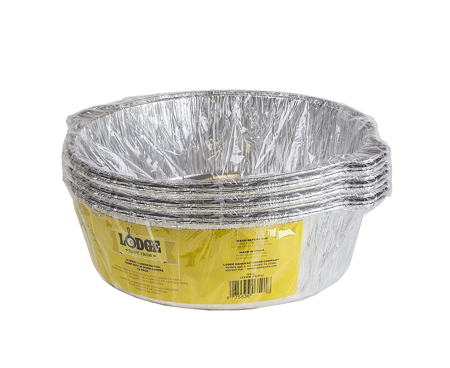 Lodge A12F12 12-Inch Aluminum Foil Dutch Oven Liners Pack, Silver