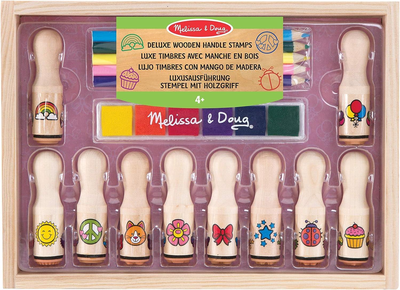 Melissa & Doug- Wooden Stamp Set Deluxe Happy Handles Juego de Sellos de Madera, Multicolor (2306): Amazon.es: Juguetes y juegos
