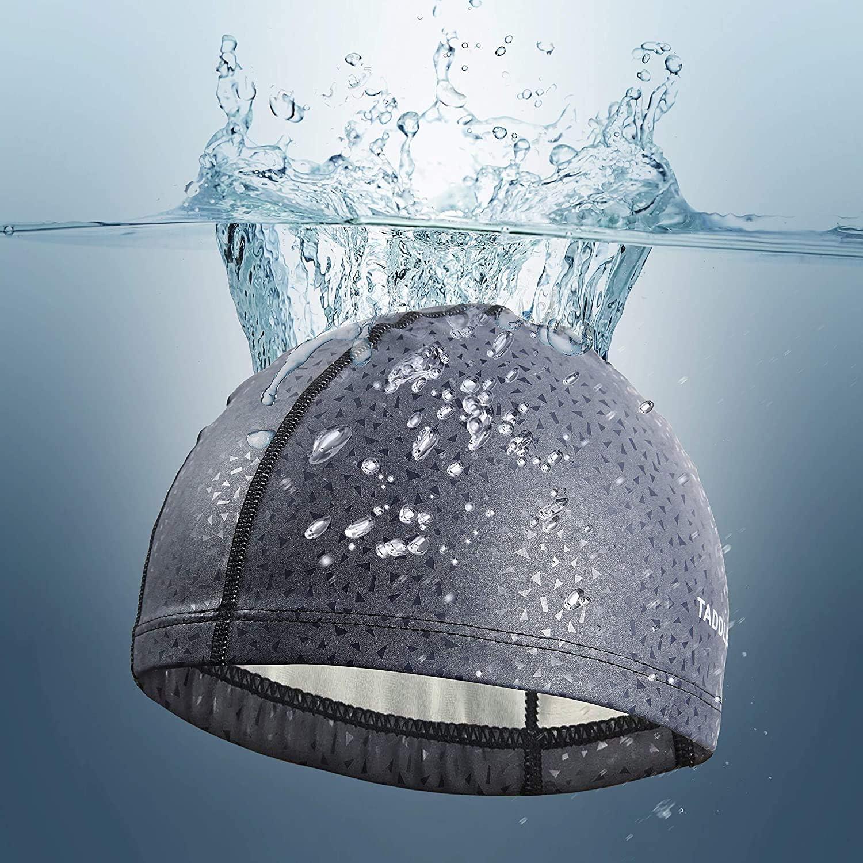 grau TADDLEE Herren Badekappe PU Stoff Silikon Lycra Schwimmhut Pool Wasserdicht Sport Erwachsene Schwimmbekleidung Zubeh/ör Gro/ße Gr/ö/ße Outdoor