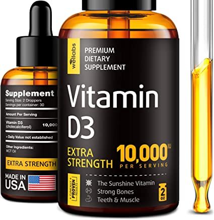 Amazon.com: Vitamin D3 Drops - Extra Strength Vitamin D3 10000 IU - Made in The USA - High Dose Vitamin D3 - Premium & Natural Vitamin D3 - The Sunshine D3 Vitamin Supplement - Organic & Raw Vitamin D: Health & Personal Care
