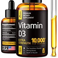 Vitamin D3 Drops - Extra Strength Vitamin D3 10000 IU - Made in The USA - High Dose...