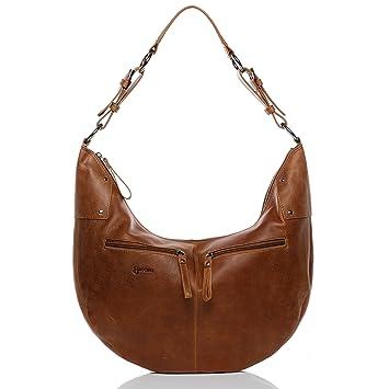 199d4804bbc31 BACCINI Beuteltasche Leder Sienna Hobo Bag Damen Schultertasche echte  Ledertasche Damentasche braun