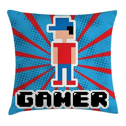 Videojuegos Throw Pillow Cojín, Azul y Rojo Rayas Boom Vigas ...