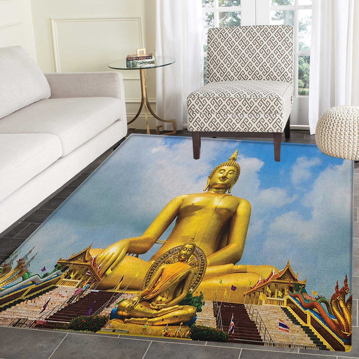 Asian Area Rug Carpet Biggest Golden Religious Statue at the Temple in Thai Orient Sage Asian Style Design Customize door mats for home Mat 2'x3' Multicolor by smallbeefly