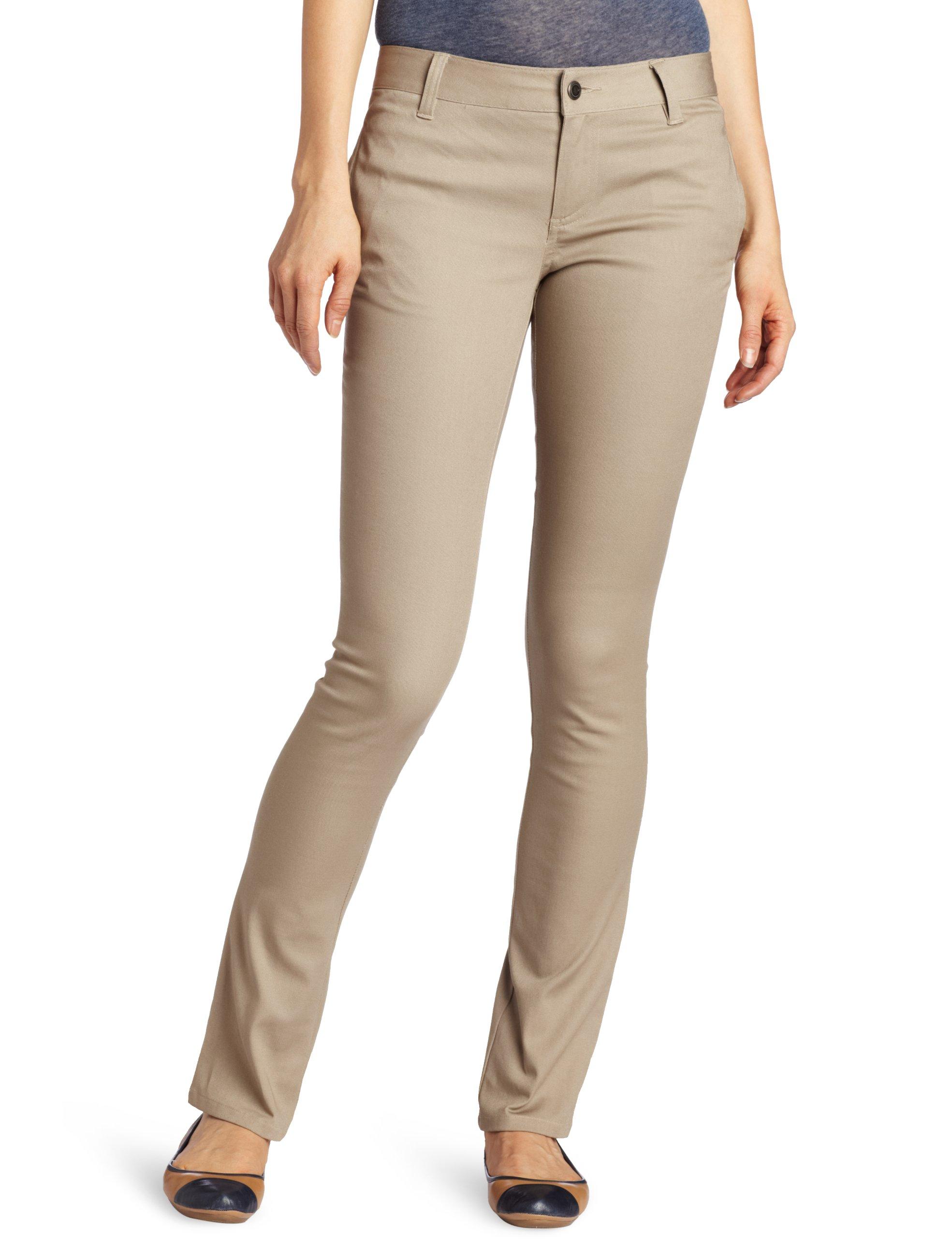 LEE Uniforms Juniors Original Skinny Leg Pant, Khaki, 0