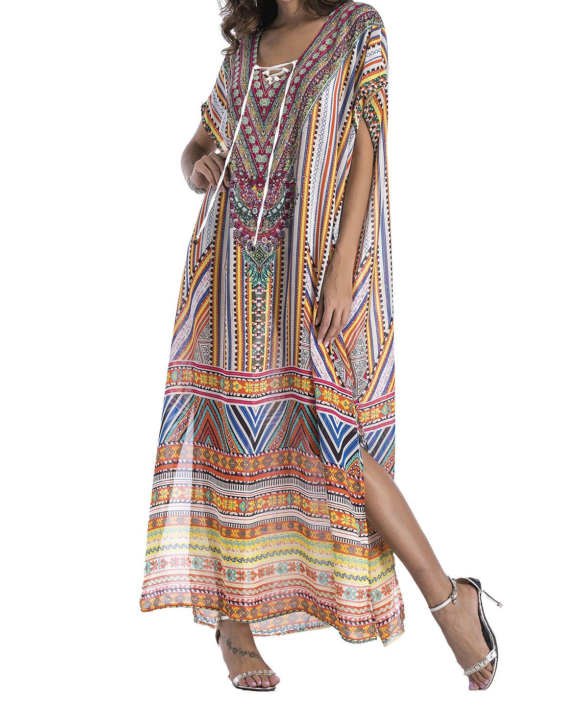Flowy Rhinestone Long Caftan Beach Maxi Dress Sexy Cover Up For Women (style4)