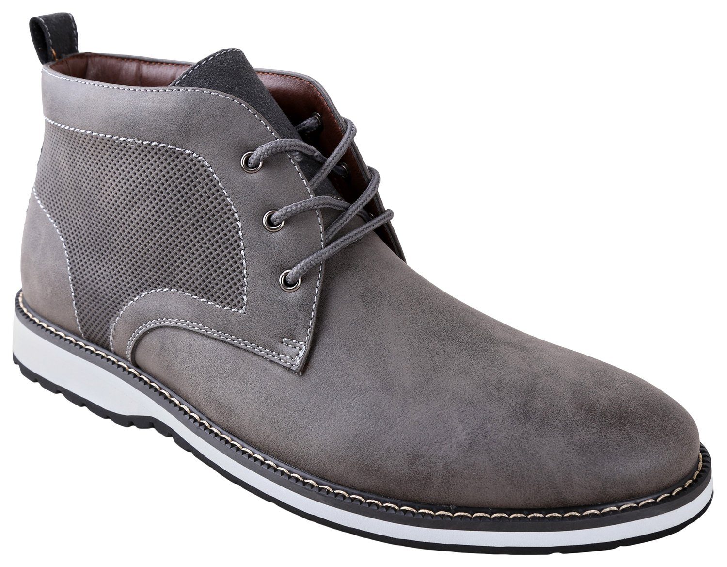Ferro Aldo Men's Denver Ankle Boots | Lace up | Mens Boots Fashion | Casual Fashion | Chukka Boots Men | Grey/White Sole 13