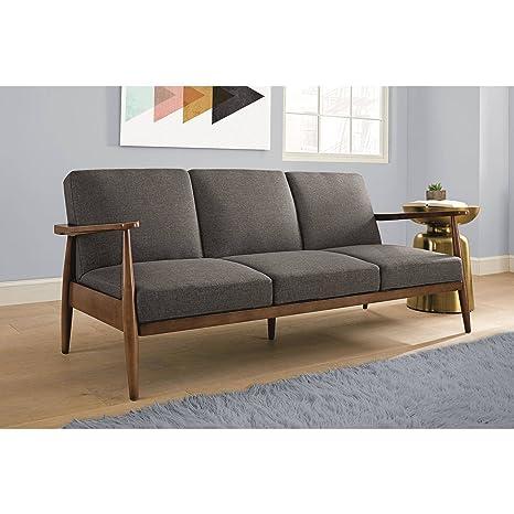 Amazon.com: Flynn Mid Century Futon Sofa Sleeper, Grey ...