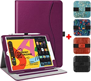 Fintie Bundle Case for New iPad 7th Generation 10.2 Inch 2019 + 4 Pack Screen Cleaning Pad, Soft Cloth Wipes with Elastic Strap for iPad, iPhone, MacBook, Tablets Screen