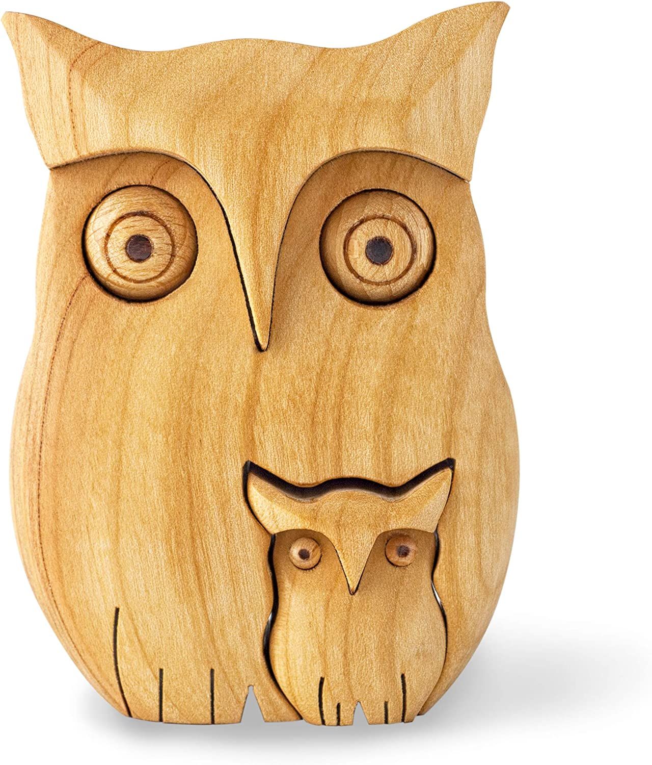 Forest Decor Wood Owl Figurine, Small Owl Decorations for Wall and Shelf, Wooden Knick Knacks, Owl Decor Handmade in Germany (Owl with Two Owls)