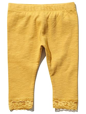 09ea68046176 M Co Baby Girl Cotton Blend Plain Yellow Ochre Ribbed Lace Trim Hem ...