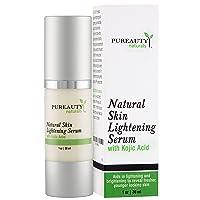 Skin Lightening Cream Dark Spot Corrector - Brightening Serum for Face, Underarm, Inner Thighs, Bikini Areas with Kojic Acid and Jojoba Oil by Pureauty Naturals