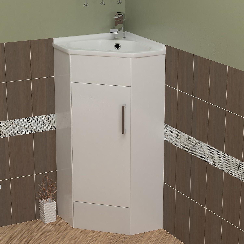 Mayford 550mm Wide Gloss White Floor Standing Vanity Unit With Corner Cabinet Sink Basin Modern Bathroom Storage Furniture Gloss White Finish Amazon Co Uk Kitchen Home