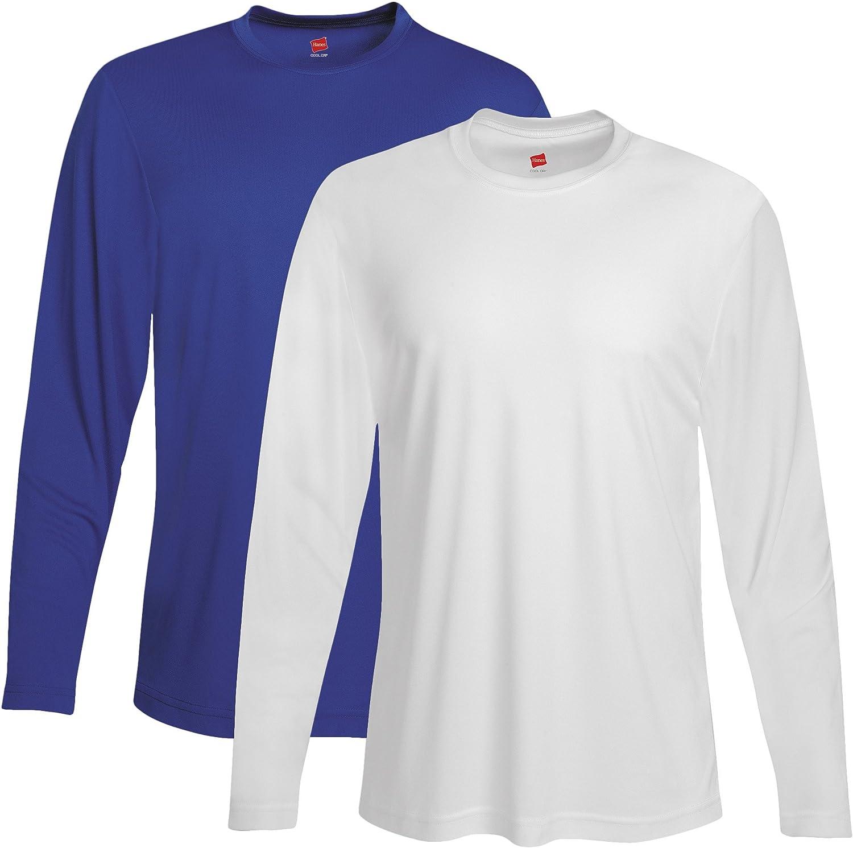 Hanes mens Cool DRI Performance Long-Sleeve T-Shirt(482L)-Deep Royal/White-XL