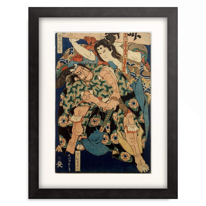 葛飾北斎 Katsushika Hokusai 「楠多門丸正重 八尾の別當常久」 額装アート作品 M(額内寸 379mm×288mm) 06.木製額 22mm(ブラック) B07PTQNB83