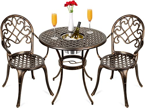Best Choice Products Cast Aluminum Outdoor Patio Bistro Table Set