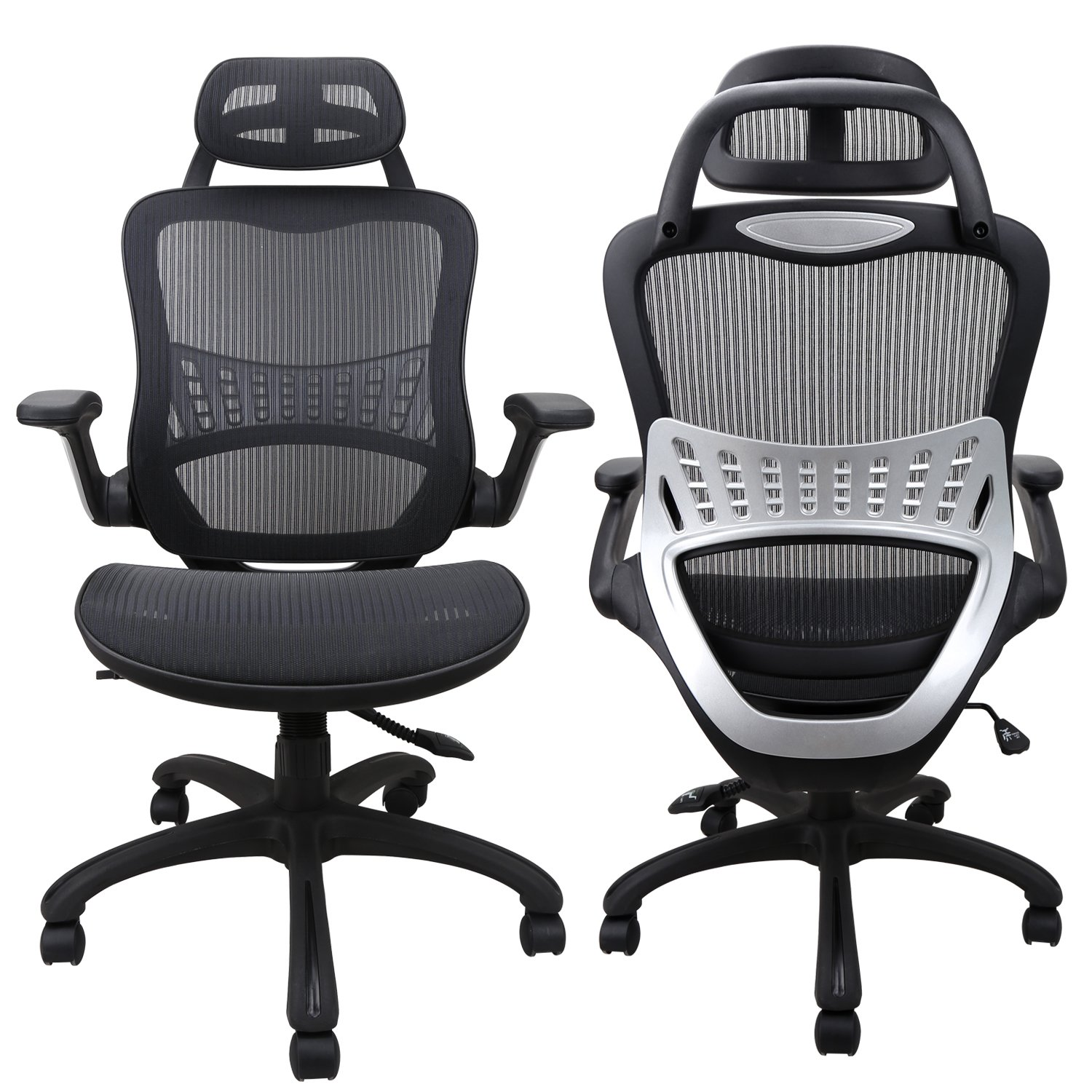 Ergonomic Office Chair: Passed BIFMA/SGS Weight Support Over 300Ibs,Breathable Mesh Cushion &High Back - Executive Chairs with Adjustable Head& Backrest,Flip-up Armrests,360-Degree Swivel Chair by Komene (Image #2)