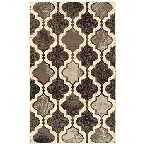Blue Nile Mills Gudrun Indoor Area Rug, Super Soft, Durable, Elegant, Geometric, Trellis Pattern, Mid-Century, Contemporary, Jute Backing, Chocolate, 6 x 9 Rug