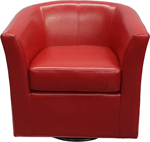 Christopher Knight Home Daymian PU Swivel Club Chair, Red