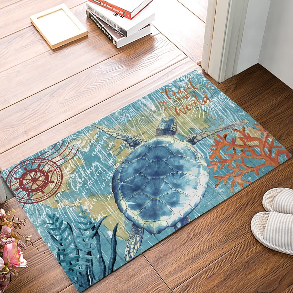 Decor Love Doormats for Front Entrance Outside Patio Rug 20 x 31.5 Turtle Travel The World Watercolor Map Indoor Outdoor Bathroom Kitchen Bedroom Entryway Floor, Non-Slip Rubber
