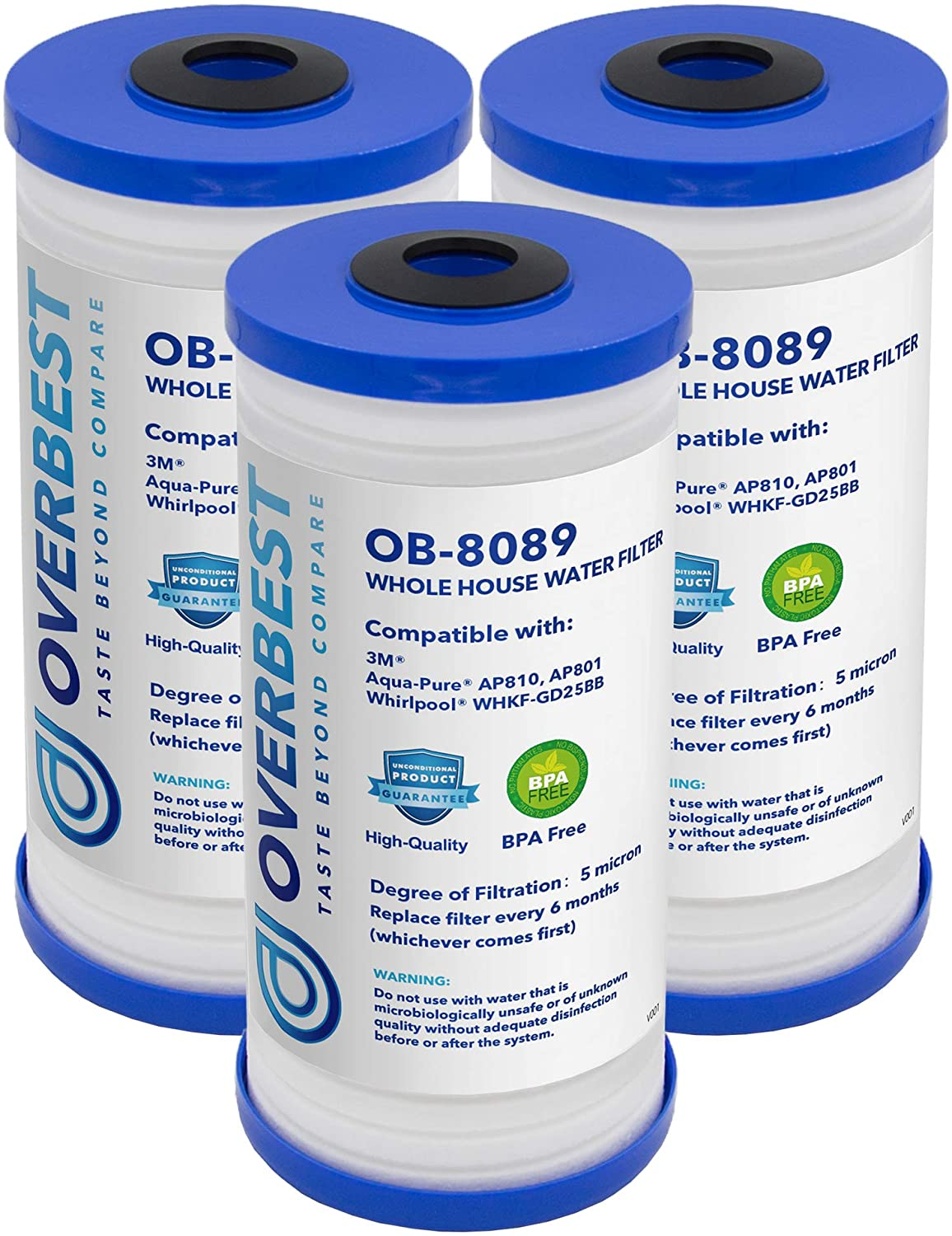 Overbest AP810 Whole House Water Filter, Replacement for 3M Aqua-Pure AP810, AP801, AP801-C, AP801T, AP801B and AP811 Water Filtration Systems, Whirlpool WHKF-GD25BB ( 3 Pack )