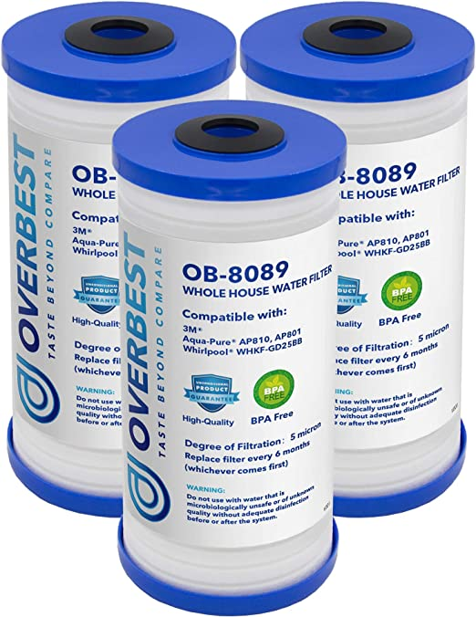 Waterdrop AP810 Whole House Water Filter AP801 AP811 Whirlpool WHKF-GD25BB Compatible with 3M Aqua-Pure AP810 Pack of 2