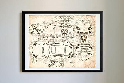 DolanPaperCo #290 Porsche Panamera Turbo S 2014 Art Print, da Vinci Sketch – Unframed