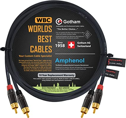 Directional Gotham GAC-4//1 Star-Quad Audio Interconnect Cable with Premium Gold Plated Locking RCA Connectors WORLDS BEST CABLES 0.5 Foot RCA Cable Pair Custom Made Black