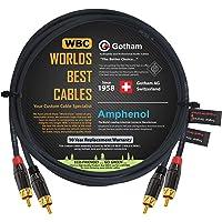 2 Foot RCA Cable Pair - Gotham GAC-4/1 (Black) Star-Quad Audio Interconnect Cable with Amphenol ACPL Black Chrome Body…