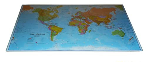 Tiger world map desk mat amazon office products political world desk and mouse mat maps international gumiabroncs Image collections
