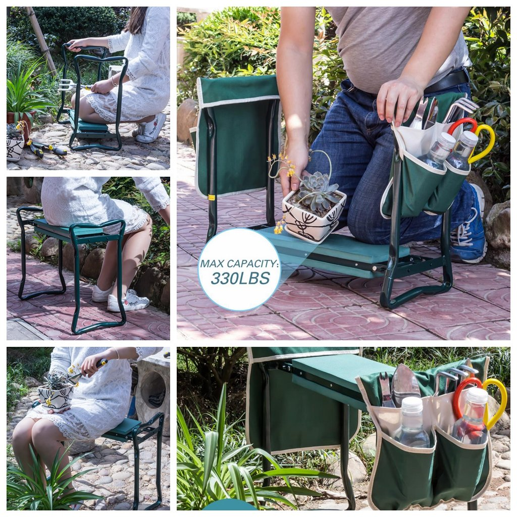 Ideal Choice Product Deep Seat Garden Kneeler and Seat-FoldingGarden Kneeler with 2 Ex-Large Tool Pouches-Gardener Foldable Bench Stool with Kneeling Pad Cushion-Gardening Bench by Ideal Choice Product (Image #5)