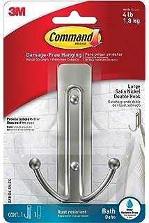 Command Large Double Bath Hook, Satin Nickel, 1 Hook, 1 Large