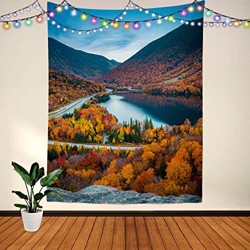 BaoNews Fall White Mountain USA Tapestry, USA New England New Hampshire White Mountains Large Wall Hanging Tablecloths Psychedelic Tapestry Bedroom Living Room Dorm 82.7 x 59.1 inches White Lake