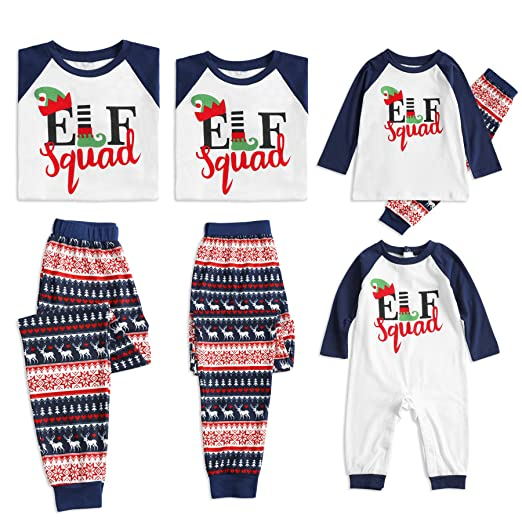 Amazon.com  PatPat Family Matching Pajamas Set Christmas Elf Squad Letter  Printed Two Pieces Pjs Sleepwear for Kids Adult  Clothing 369f653f9
