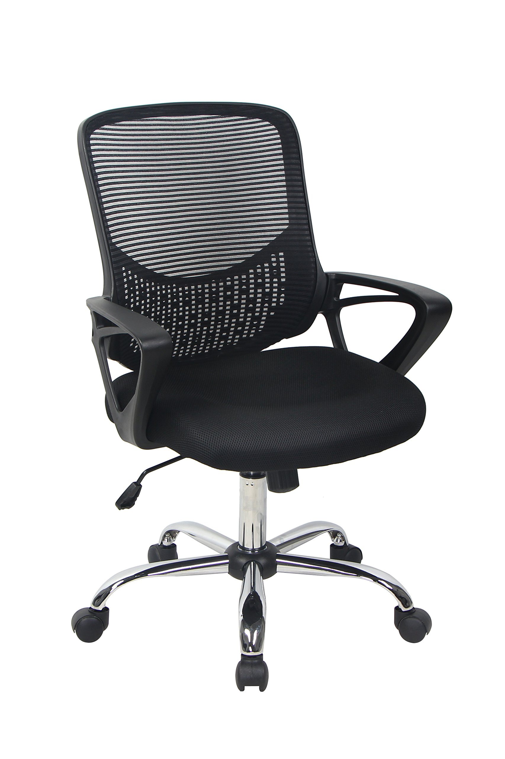 Bonum Black Mid-Back Mesh Fabric Swivel Office Chair Adjustable Desk Chair Home Office Chair with Mesh Padded Seat and Armrest