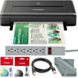 CANON PIXMA iP110 Wireless Mobile InkJet Printer w/ With Airprint(TM) And Cloud Compatible and Accessory Bundle with 6-Outlet Strip + USB Cable + Fibertique Cloth