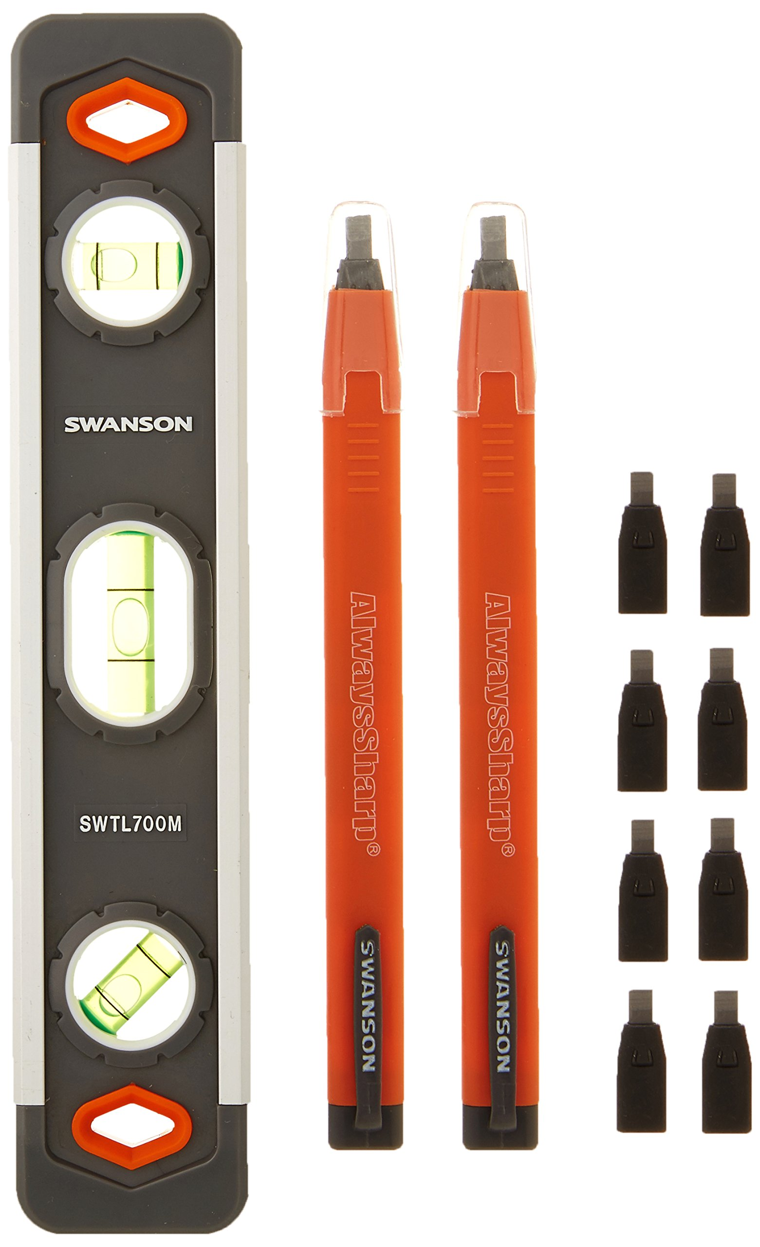 Swanson pack of 2 Mechanical Carpenter Pencils with 24 Graphite Cartridges and a Magnetic Torpedo Level
