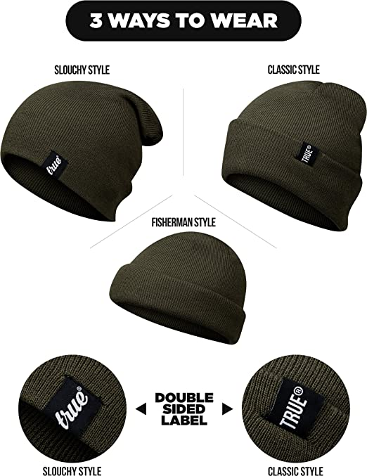 a7e1298a9cd TRUE VISION Mens Beanie Hat - Army Green - Slouch or Turn Cuff for  Traditional Beanie Style - Soft   Comfortable One Size Fit - Winter Warm  Knitted Acrylic ...