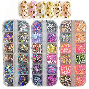 JAKSSO 36 Colors Nail Art Sequins Chunky Glitter Circles Arcylic Pailettes Glitter Sequins for Nail Art Decoration Face Body Resin Art DIY Carft Decals Decoration